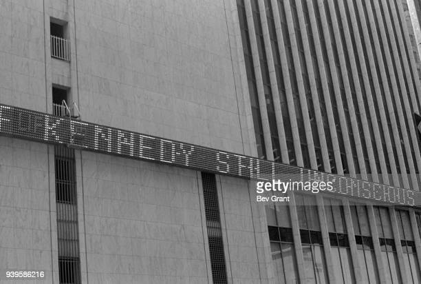 View of the electronic ticker tape screen in Time Square as it reports on the presidential candidate Robert Kennedy's condition following his...