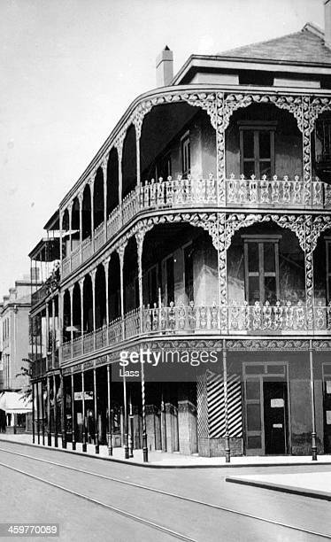 A view of the Embroidered Balconies in the French Quarter in New Orleans Louisiana Circa 1900