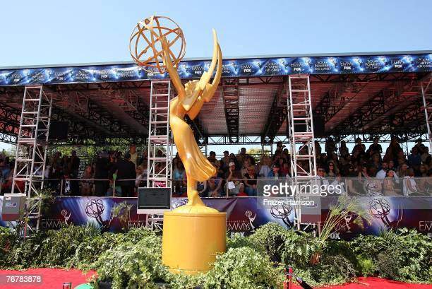 A view of the Emmy Award statue during arrivals at the 59th Annual Primetime Emmy Awards at the Shrine Auditorium on September 16 2007 in Los Angeles...