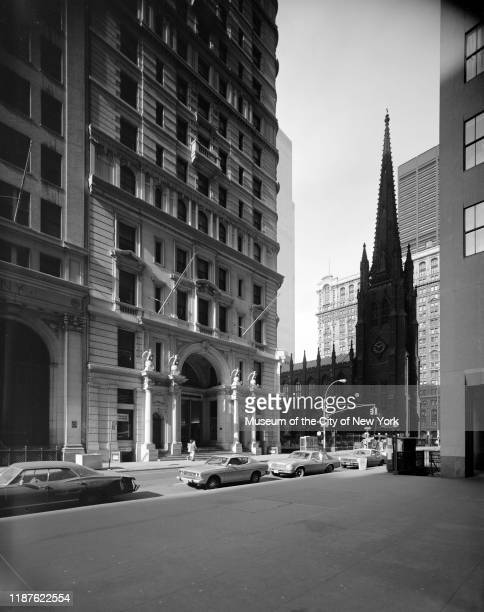 View of the Empire Apartments at 71 Broadway with Trinity Church visible New York New York circa 1975