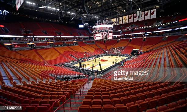 A view of the empty AmericanAirlines Arena before the Miami Heat play host to the Charlotte Hornets on March 11 in Miami