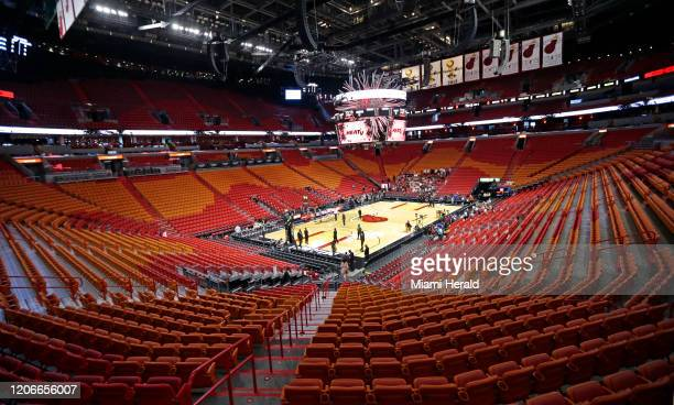 A view of the empty AmericanAirlines Arena before the start of an NBA basketball regular season game between the Miami Heat and the Charlotte Hornets...