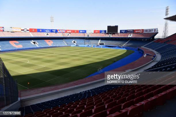 View of the empty General Pablo Rojas Stadium in Asuncion on July 17 2020 Paraguay's football association announced on Friday it was suspending the...