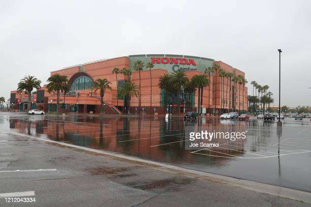 View of the empty Honda Center parking lot due to the cancellation of the Big West Men's Basketball Tournament due to the medical emergency Covid-19...
