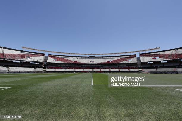 A view of the empty Monumental stadium in Buenos Aires before the allArgentine Copa Libertadores second leg final match between River Plate and Boca...