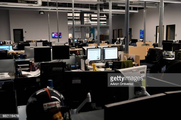 A view of the empty newsroom during an announcement of forthcoming layoffs to the Denver Post newsroom on Wednesday March 14 2018 The Denver Post...