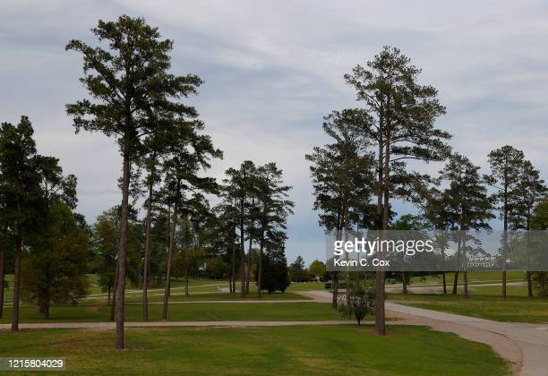 A view of the empty parking areas on Berckmans Road next to Augusta National on March 30 2020 in Augusta Georgia The Masters Tournament the Augusta...
