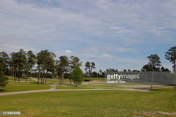 View of the empty parking areas on Berckmans Road next to Augusta National on March 30, 2020 in Augusta, Georgia. The Masters Tournament, the Augusta...