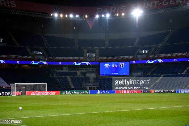 View of the empty pitch and the score board stopped at the 23rd minute after the confusion following an alleged incident between Istanbul Basaksehir...
