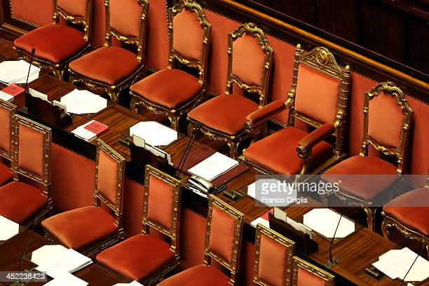 A view of the empty places of Enrico Letta's government at the Italian Senate Palazzo Madama during the discussion before the votes over Silvio...