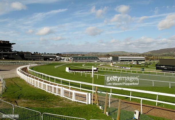 View of the empty racecourse and grandstand during the 2008 Cheltenham Festival in Cheltenham England on 12th March 2008 The races have been...