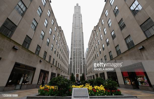 View of the empty Rockefeller Center on April 09, 2020 in New York City. - America's coronavirus epicenter of New York recorded a new single-day high...