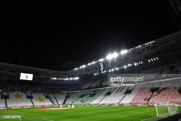 A view of the empty stadium after rules to limit the spread of Covid19 have been put in place before the Serie A match between Juventus and FC...