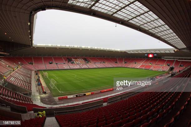 View of the empty stands and pitch at Sunderland's Stadium of Light ahead of the English Premier League football match between Sunderland and...