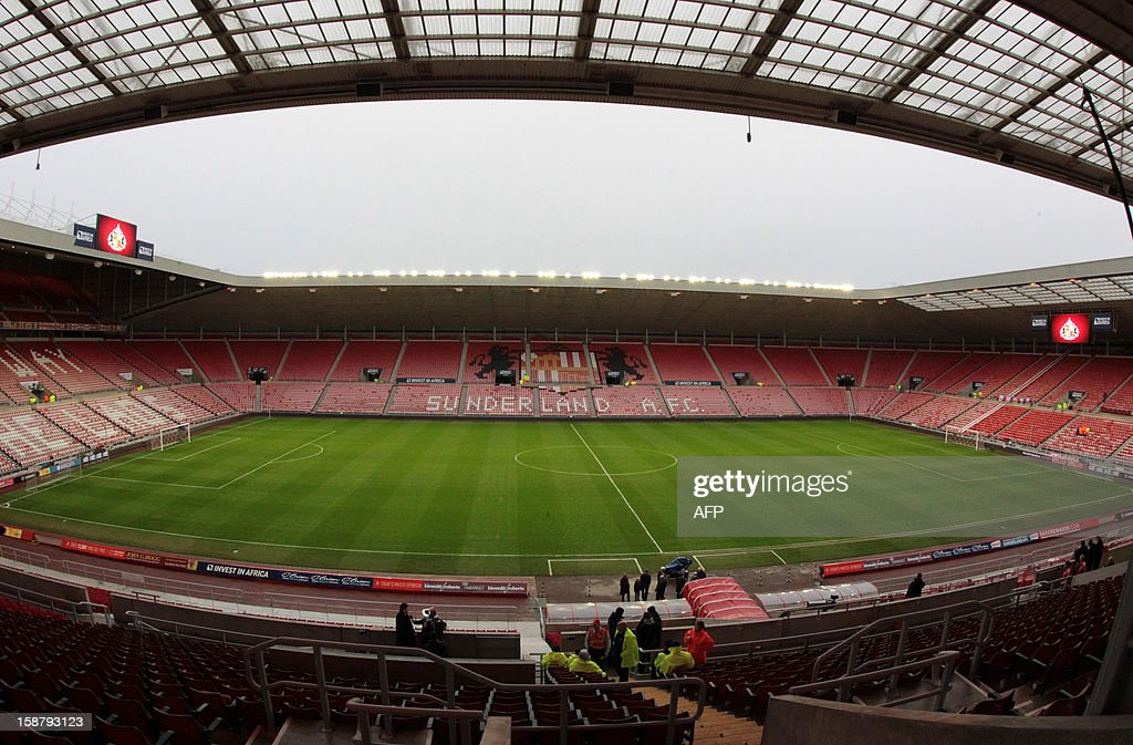 """View of the empty stands and pitch at Sunderland's Stadium of Light ahead of the English Premier League football match between Sunderland and Tottenham Hotspur in Sunderland, north-east England on December 29, 2012. USE. No use with unauthorized audio, video, data, fixture lists, club/league logos or """"live"""" services. Online in-match use limited to 45 images, no video emulation. No use in betting, games or single club/league/player publications."""