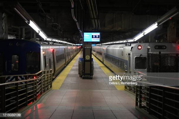 View of the empty trains at Grand Central Station in Midtown Manhattan during rush hour as the coronavirus continues to spread across the United...