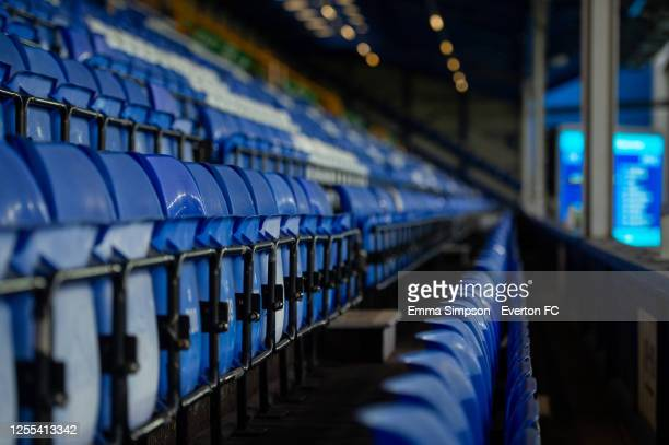 A view of the empty Upper Bullens during the Premier League match between Everton FC and Southampton FC at Goodison Park on July 09 2020 in Liverpool...