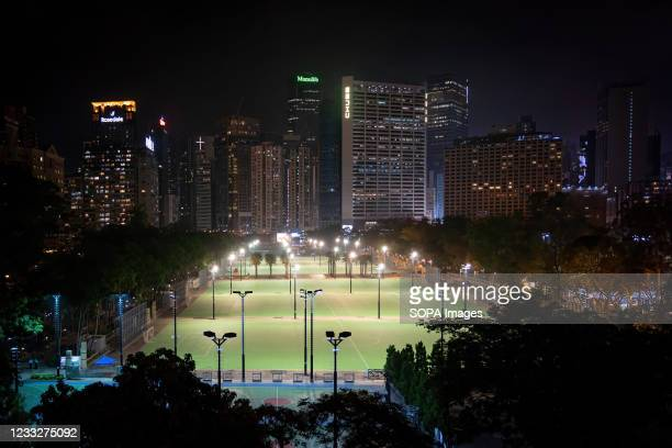 View of the empty Victoria Park during the anniversary. Police blocked off Hong Kong Victoria Park to prevent people gathering to commemorate the...