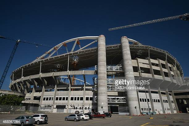 View of the Engenhao stadium during renovation works to be the Olympic stadium for the Rio 2016 Olympic and Paralympic games in Rio de Janeiro,...