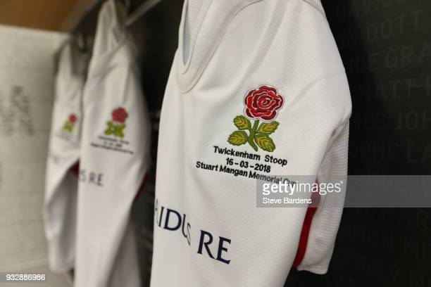 A view of the England Legends dressing room prior to the Rugby Union charity match between England Legends and Ireland Legends at the Twickenham...