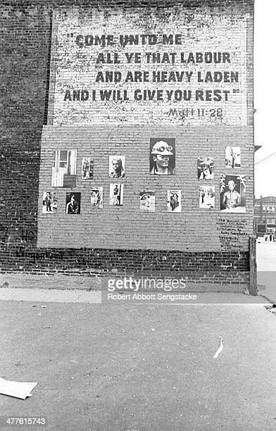 View of 'The Englewood Wall' a public art project dedicated to the memory of Christopher Gaddy in the Englewood neighborhood Chicago Illinois 1968