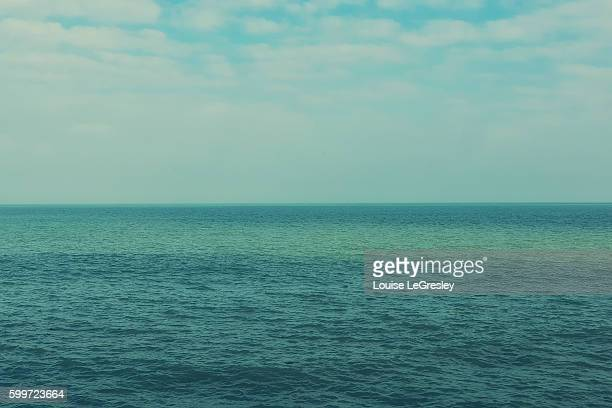 view of the english channel on a clear day - english channel stock photos and pictures