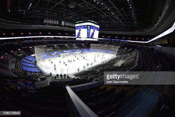 View of the Enterprise Center during player warmups before an NHL game between the San Jose Sharks and the St. Louis Blues on January 20 at...