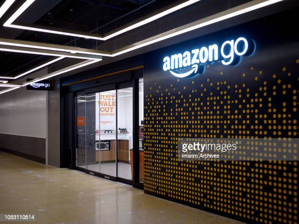 View of the entrance and sign for the Amazon Go store in Chicago Illinois October 9 2018 The store is located on 144 South Clark Street in the...