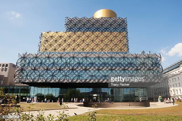 View of the entrance facade of the Library of Birmingham, the largest public cultural space in Europe, estimated to have cost £188.8 million and is...