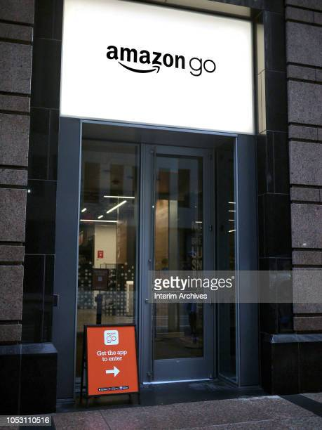 View of the entrance for the Amazon Go store in Chicago Illinois October 8 2018 The store is located on 113 S Franklin Street in the Chicago Loop...