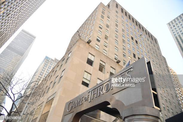 """View of the entrance for the """"Game of Thrones"""" eighth and final season premiere at Radio City Music Hall on April 3, 2019 in New York city."""