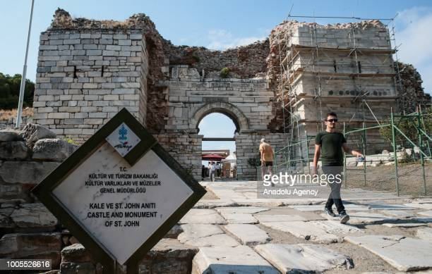 View of the entrance of Castle And Monument of Saint John near the center of Selcuk district of Izmir, Turkey on July 25, 2018. The Basilica of St....