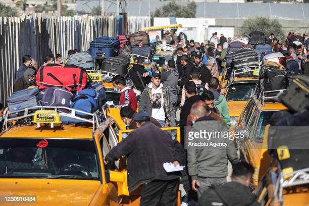 View of the entrance of Rafah Crossing Point as cars wait for checking processes to pass other side, after the announcement that Egypt would reopen...