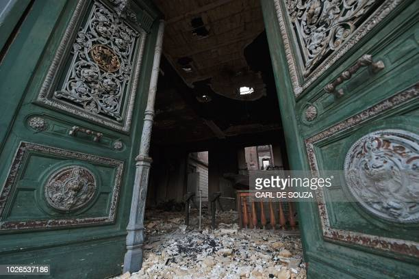TOPSHOT View of the entrance of Rio de Janeiro's treasured National Museum one of Brazil's oldest on September 3 a day after a massive fire ripped...