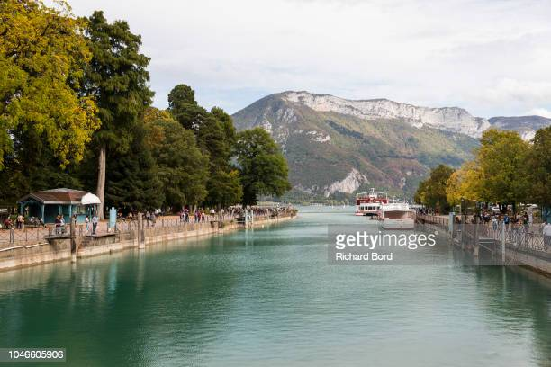 A view of the entrance of the Thiou river formed by the Annecy Lake water on October 6 2018 in Annecy France Lake Annecy has reached a low level due...