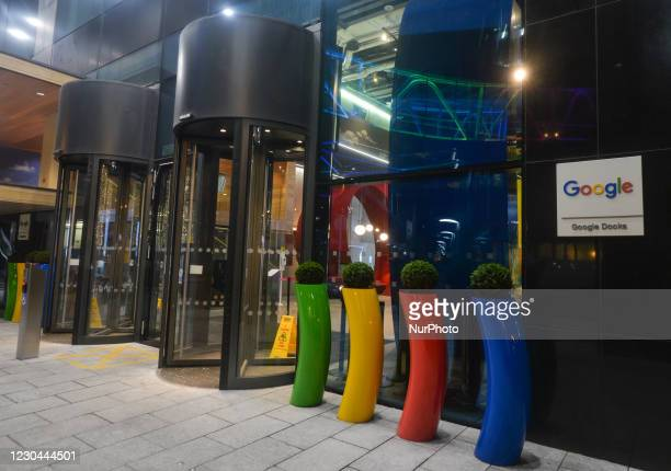View of the entrance to Google's European headquarters building on Barrow Street, in Dublin's Grand Canal area. More than 200 Google employees in the...
