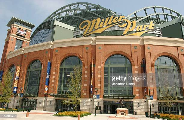 May 17: A view of the entrance to Miller Park before the game between the Milwaukee Brewers and the Cincinnati Reds on May 17, 2003 in Milwaukee,...