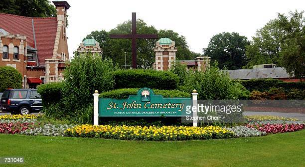 A view of the entrance to St John Cemetery in Middle Village June 14 2002 in the Queens borough of New York City Mobster John Gotti will to be...