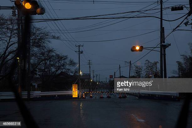 A view of the entrance to the ban area within 10km the Fukushima Daiichi Nuclear Power Plant on March 9 2015 in Tomioka town Fukushima prefecture...