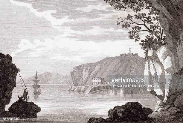 View of the entrance to the harbor of Nice ProvenceAlpesCote d'Azur France copper engraving 291x196 cm from Corografia fisica storica e statistica...