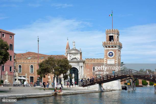 View of the entrance to the historic Venetian Arsenal and Naval Museum in Castello district of Venice in Italy. Caution: For the. Not for advertising...
