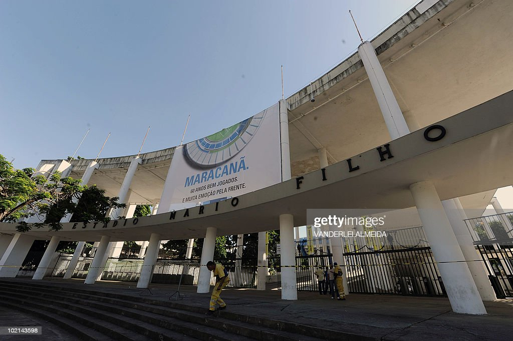 View of the entrance to the Maracana stadium --which real name is Mario Filho stadium--, in Rio de Janeiro, on June 16, 2010. Today marks the 60th anniversary of the stadium, which will soon be closed for refurbishment for the 2014 FIFA World Cup and the 2016 Olympic Games due to be held in this city. AFP PHOTO/Vanderlei ALMEIDA