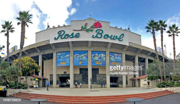 View of the entrance to the Rose Bowl before the game between the UCLA Bruins and the Washington Huskies on October 6, 2018 in Pasadena, California.