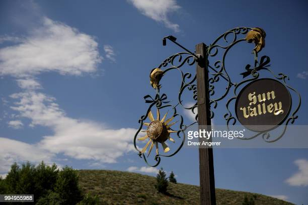 A view of the entrance to the Sun Valley Resort ahead of the annual Allen Company Sun Valley Conference July 9 2018 in Sun Valley Idaho Every July...