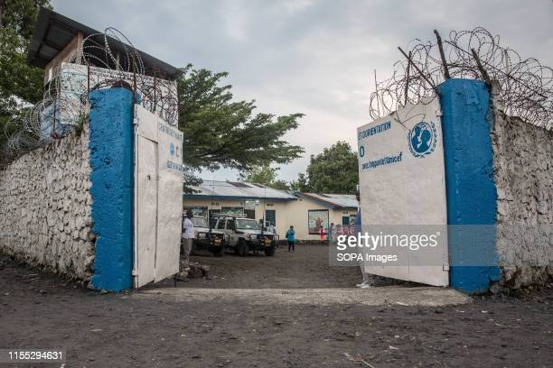 View of the entrance to the Transit Centre for former child soldiers in Goma. Hundreds will spend several months here before being reintegrated into...