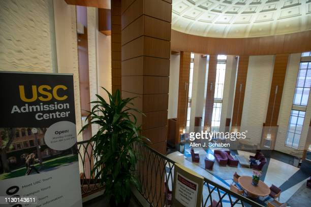 View of the entrance to the USC Admission Center in the Ronald Tutor Campus Center at the University of Southern California on March 12, 2019 in Los...