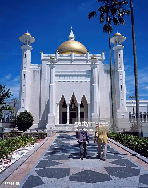 View of the entry to the Sultan Omar Ali Saifuddin Mosque finished in 1958 and the main dome is reportedly covered in real gold It is visible from...