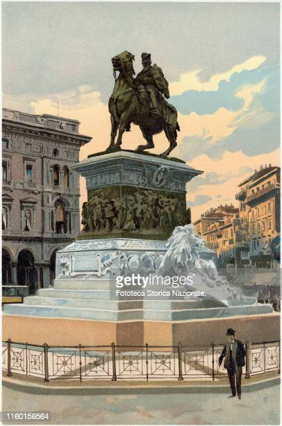 View of the Equestrian Monument to Vittorio Emanuele II in Piazza del Duomo Commissioned by Umberto I in 1878 to the Italian sculptor Ercole Rosa who...