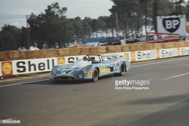 View of the Equipe MatraSimca Shell MatraSimca MS670 racing car driven by Francois Cevert of France and Howden Ganley of New Zealand competing to...