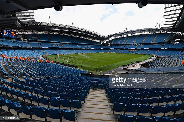 A view of the Etihad Stadium home of Manchester City during the Barclays Premier League match between Manchester City and Watford at the Etihad...